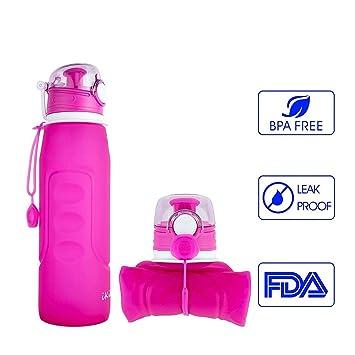 Ikikin plegable prueba de fugas BPA Free Sports botella de agua, (1000 ml 1