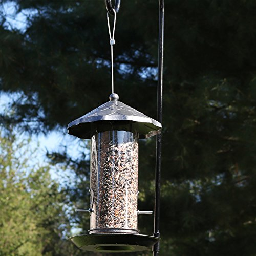 Sunnydaze Wild Bird Seed Feeder with Gray Finish and Acorn Style Roof, 13-Inch Cylinder Feeder