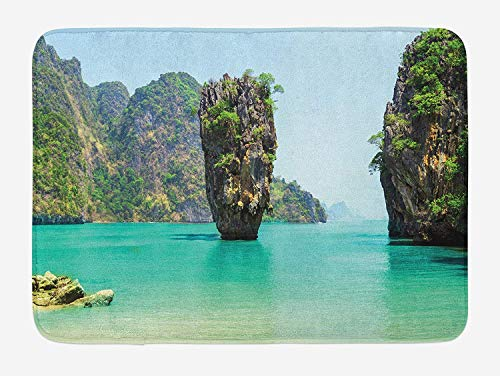 Kaickdfv Island Bath Mat, James Bond Stone Island Landscape in Tropical Beach Cruising Journey of Life Photo, Plush Bathroom Decor Mat with Non Slip Backing, 23.6 W X 15.7 W Inches, Green Brown