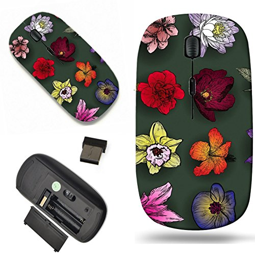 Luxlady Wireless Mouse Travel 2.4G Wireless Mice with USB Receiver, 1000 DPI for notebook, pc, laptop, mac design IMAGE ID: 41494075 Set of flowers rose bird cherry tree lilac clematis (Clematis Lily)