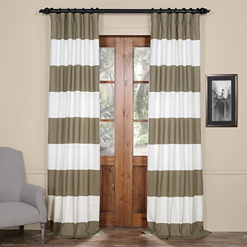 HPD HALF PRICE DRAPES PRCT HS04 96 Horizontal Stripe Cotton Curtain Thunder Tan Off White