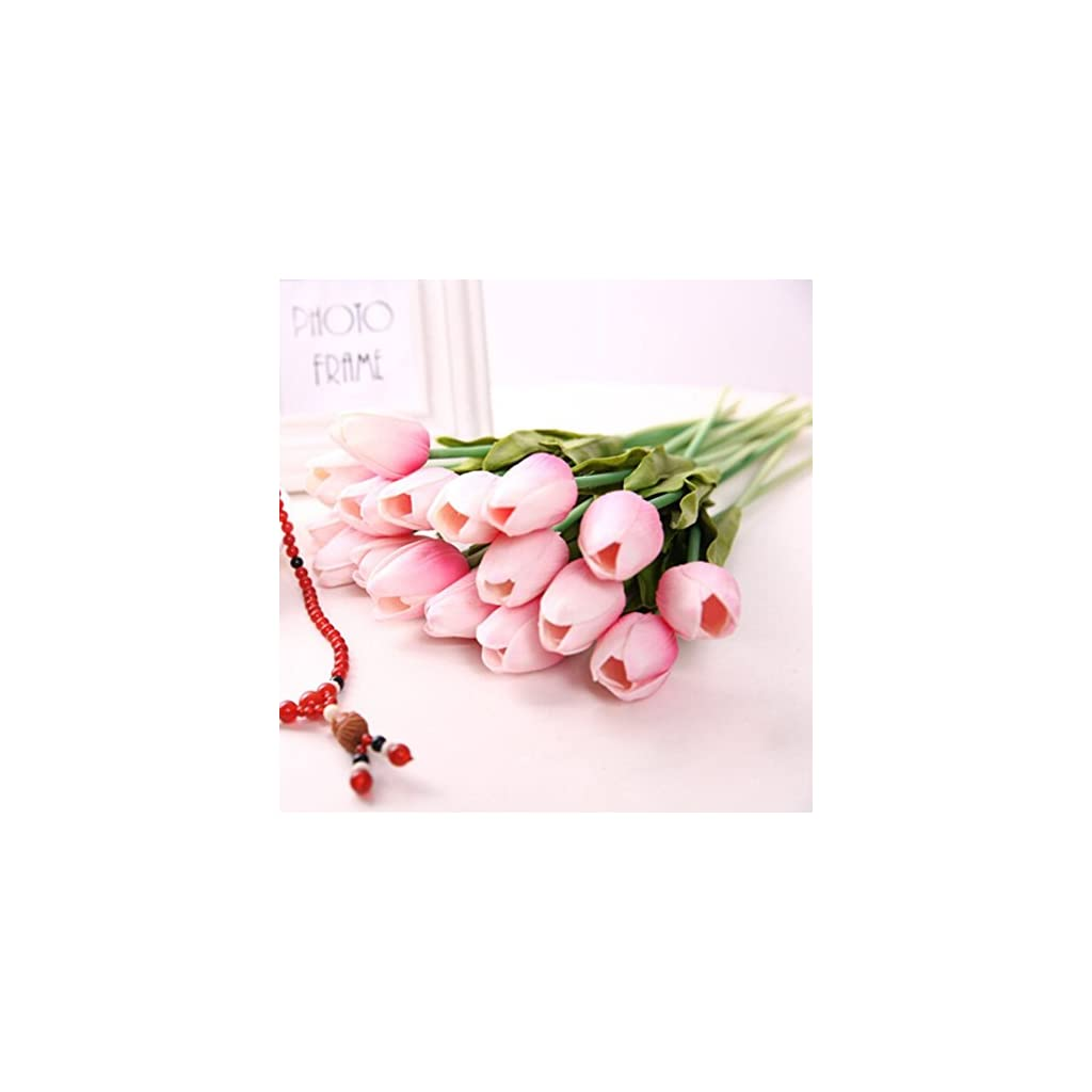 10pcs-Classic-Artificial-Flowers-Silver-Flowers-Fake-Tulips-Pink-Tulips-for-Wedding-Bridesmaid-Bridal-Bouquet-Home-Decoration-Pink