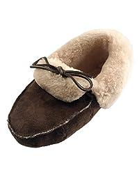 Laurentian Chief Men's Dark Brown Sheepskin Slippers