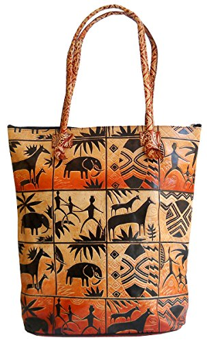 Exclusive Jungle Forest Design Ethnic Hand Embossed Shantiniketan Leather Indian Shopping Bag