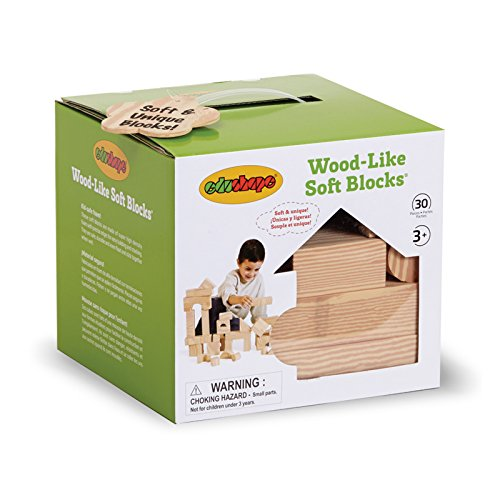 Edushape Wood-Like Soft Blocks, 30 Piece
