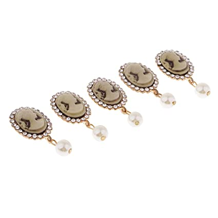 Image Unavailable. Image not available for. Color  Baosity 5 Pieces Alloy  Oval Crystal Dangle Pearls Flat Back Craft Buttons Charms Embellishment ... 4f9dca2b1554