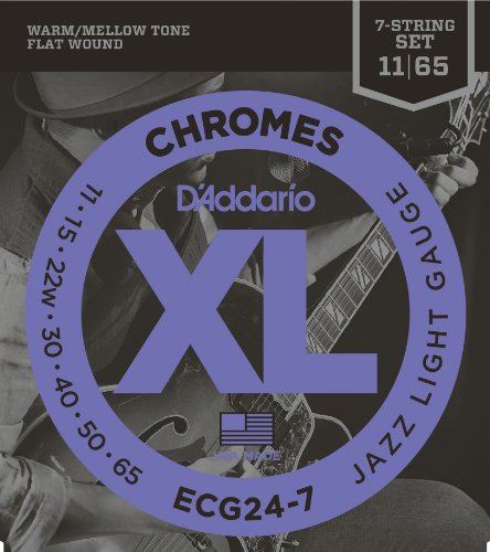 - D'Addario ECG24-7 XL Chromes Flat Wound Electric Guitar Strings, Jazz Light Gauge, 11-65 (1 Set) - Ribbon Wound and Polished for Ultra-Smooth Feel and Warm, Mellow Tone - Sealed Pouch Prevents Corrosion