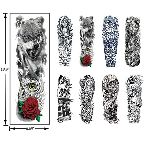 LLJEkieee 8 x Temporary Tattoo Sleeves Sheets Large Fake Black Full Arm Tattoo Stickers-18 Inches Length Waterproof Quick Removable Large Tattoo Sleves]()