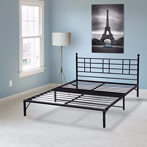 Best Price Mattress Model L Easy Set-up Steel Platform Bed with headboard, Twin Box Spring Replacement Bed Raiser Sturdy and Durable Steel slats Black Metal Bed Frame Modern Design