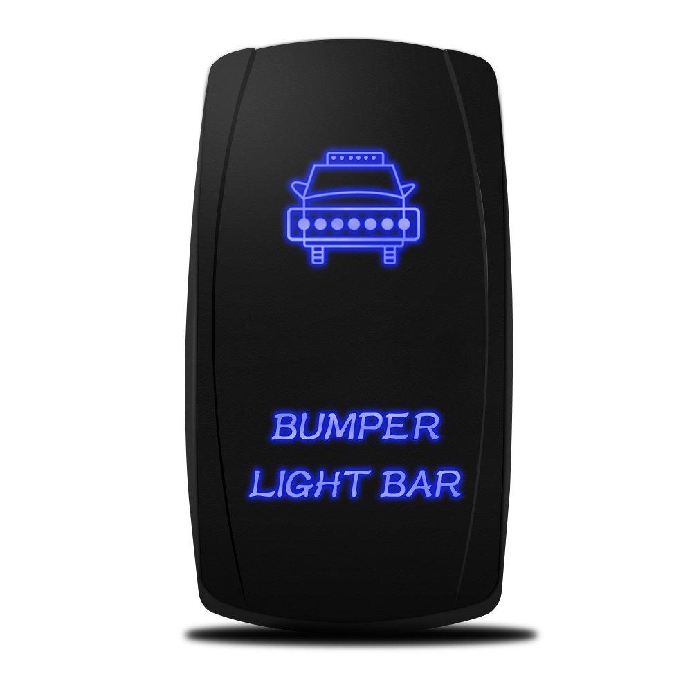 MICTUNING LS081502JL Backlit Bumper Lights, Rocker Switch Kit, On/Off LED Light, 20A, 12V, Toggle, Blue