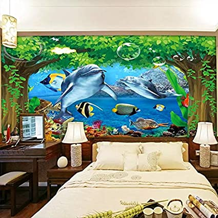 Custom Photo Wall Painting 3d Big Tree Ocean Scenery Underwater
