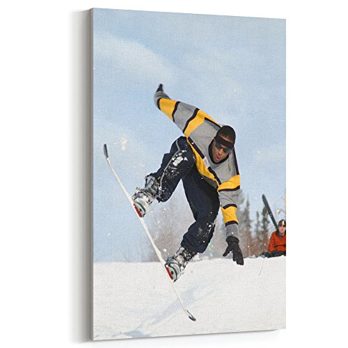 Edge Telemark Skis (Westlake Art Canvas Print Wall Art - Ski Pole on Canvas Stretched Gallery Wrap - Modern Picture Photography Artwork - Ready to Hang - 12x18in (x7x-f24-21b))