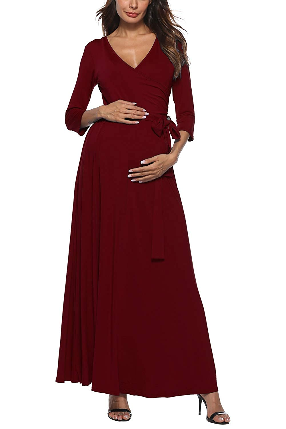 Long Maternity Dress Maxi Wrap V Neck 3 4 Sleeve Baby Shower