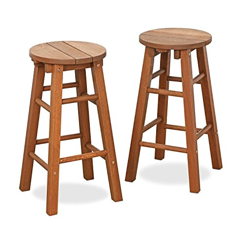 Promo Bar - FURINNO FG17629 Tioman Outdoor Hardwood Promo Arch Bar Stool (Set of 2)