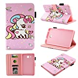 Galaxy Tab A 7.0 Inch T280 Case, Chgdss Full Body Protection Function Wallet Protective Case [Multi-Angle Viewing] Card Slots, for Samsung Galaxy Tab A 7.0 T280/T285, Candy Unicorn