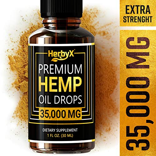 Hemp Oil for Pain & Anxiety Relief - 35000MG - Organic Hemp Oil Drops for Better Sleep, Mood & Stress Support - Vegan Friendly Pure Hemp Seed Oil - CO2 Extracted - Rich in Omega 3-6-9 Oils, Vitamins & Fatty Acids - NON-GMO Cold Pressed Supplements