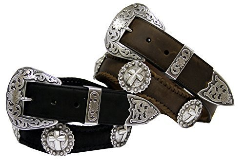 Hagora Men Oil Tanned Harness Leather Hand Laced Edge Cross Conchos Buckle Belt
