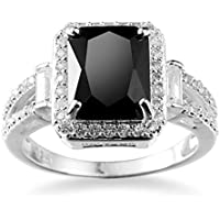 Phetmanee Shop Women Fashion Jewelry 925 Sterling Silver Black Onyx Wedding Engagement Ring (8)