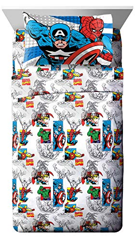 Jay Franco Comics Good Guys 3 Piece Twin Sheet Set-Features Captain America, Hulk, Iron Man, Spiderman, and Thor-Fade Resistant Polyester Microfiber Fill (Official Marvel Product), Blue