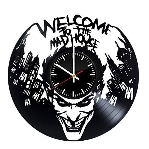 Joker Clock - The Joker vinyl clock, vinyl wall clock, vinyl record clock harley quinn dc comics clock batman joker supervillain wall art home decor 071 - (c2)