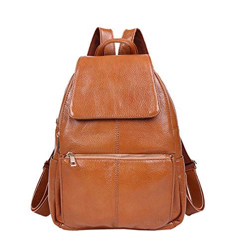Fashion Leisure Cow Leather (School Backpack, Top Layer Cow Leather Backpacks, Berchirly Real Leather Leisure Travel Handbags Shoulder Bag Korean Cute Fashion Student Rucksack Schoolbag (Brown))