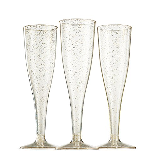 100 Pack Gold Glitter Plastic Champagne Flutes ~ 5 Oz Clear Plastic Toasting Glasses ~ Disposable Wedding Party Cocktail Cups by Munfix (Image #5)