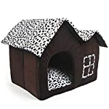 SODIAL(R) Luxury High-End Double Pet House Brown Dog Room 55 x 40 x 42 cm