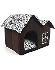 ZIME Small Dog House - Spotted Pattern Two Roof Modelling Small Pet House/Cat Sleeping Cave, Soft Pet Bed with Removable Mat