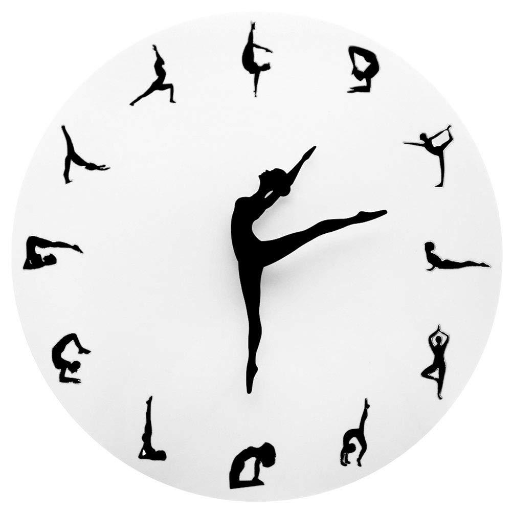 Amazon.com: ZhangXF Yoga Posture Wall Clock,Modern Ballet Dance Classroom Decoration Metal Mute Dancing Fitness Simple Living Room Wall Clock: Home & ...