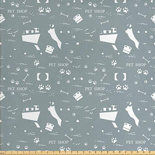Lunarable Dog Bone Fabric by The Yard, Pattern with Dog Bowl Shopping Cart Presents Collars and Brush Elements, Decorative Fabric for Upholstery and Home Accents, Blue Grey and White ()