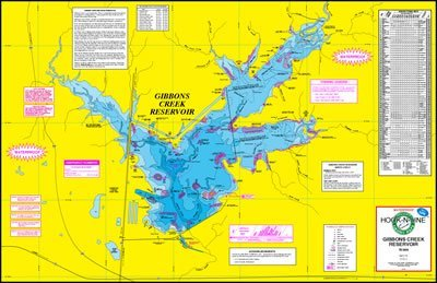 Reservoir Fishing Map - Topographical Fishing Map of Gibbons Creek Reservior - With GPS Hotspots