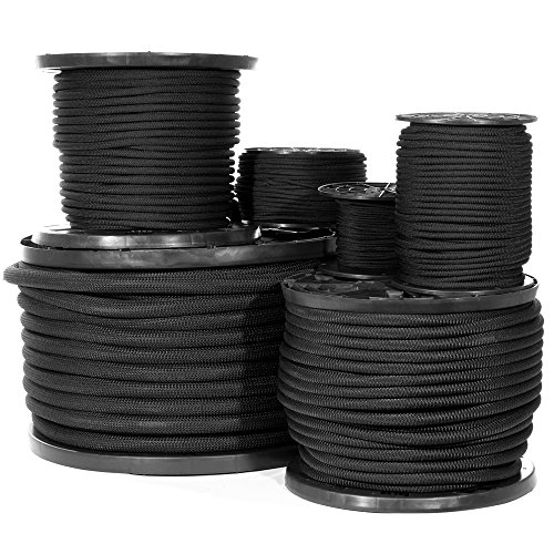 Diamond Weave Shock Cord (3/16 Inch, 100 Feet) - Black Elastic Bungee Cord Replacement
