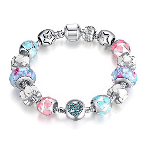 YOUFENG Love Beads Charms Bracelet for Girls and Women Murano Glass Beads Rose Flower Charms Amethyst Bracelets