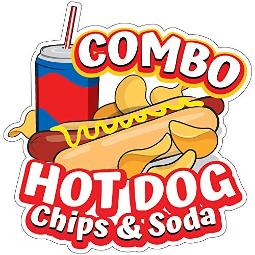 """SignMission Hot Dogs Chips and Soda Combo 12"""" Decal Concession Stand Food Truck Sticker, Size"""