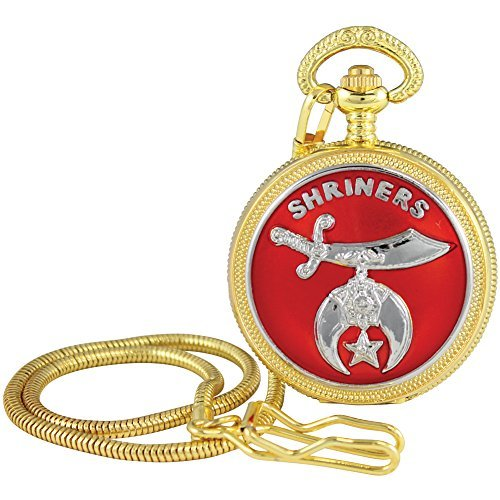 - Shriners Logo Pocket Watch - Goldtone Quartz Timepiece Is The Perfect Gift