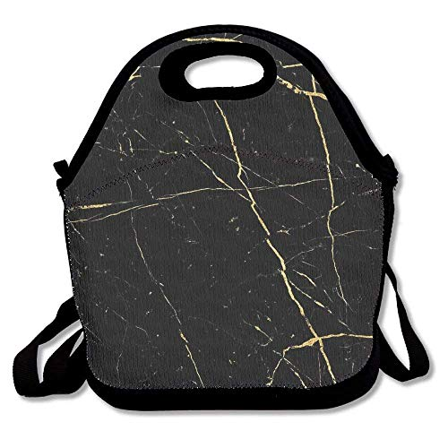 Feddiy Nero Marquina Marble Lunch Bags Insulated Travel Picnic Lunchbox Tote Handbag Shoulder Strap Women Teens Girls Kids Adults