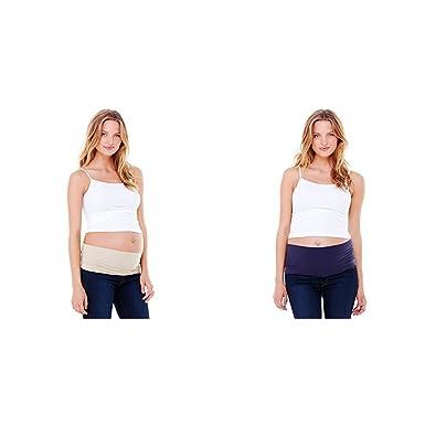 8364f9b00e10d Amazon.com: Ingrid & Isabel Women's Maternity Everyday Bellaband, Nude /  Midnight 2 Pack, Size Four (22+): Clothing