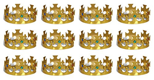 Beistle 60250-GD 12-Pack Gold Plastic Jeweled King's