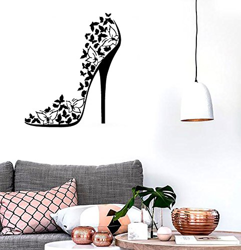 High Heel Shoe Sexy Stiletto Butterflies Swirls Fashion Decor Wall