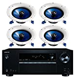 Onkyo 5.2 Channel Full 4K Bluetooth AV Home Theater Receiver + Yamaha Natural High-Performance Moisture Resistant 2-Way 110 watts Surround Sound in-ceiling Speaker System (Set Of 4)