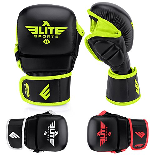 Elite Sports Standard MMA Grappling Gloves (Green, L-XL)