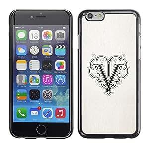 V de la tinta del papel inicial de la letra- Metal de aluminio y de plástico duro Caja del teléfono - Negro - iPhone 6
