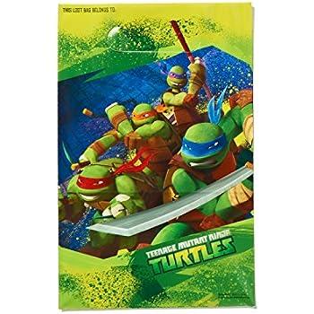 AMSCAN AM-371194 American Greetings Teenage Mutant Ninja Turtles Party Supplies Plastic Treat Bags, 8-Count
