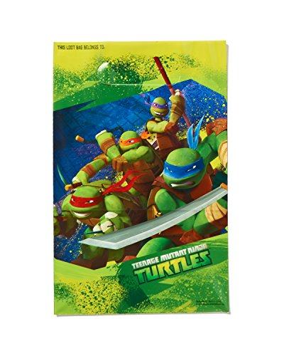 Totally Tubular Teenage Mutant Ninja Turtles Party Folded Loot Bag Favours, Plastic, 9