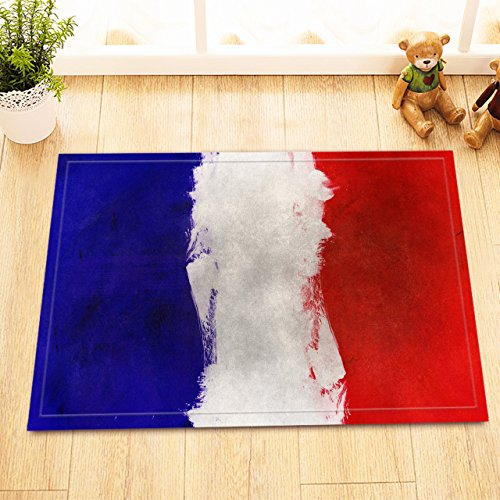 Flag Fly Kite Go A (LB Blue White Red French Flag Design Small Indoor Rugs, Slip Proof Rubber Backing Microfiber Surface, France Theme Art Printed Rug 15 x 23 Inches)