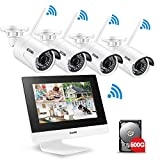 """ZOSI 4CH All-in-One 960P WIFI NVR with 10"""" LCD Monitor Wireless Security Camera System with 4 Waterproof Indoor Outdoor 100ft Night Vision Video Surveillance Camera Plug and Play 500G Hard Drive"""