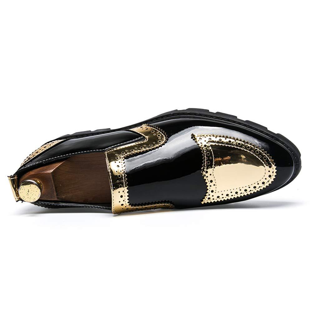 50f75cbdecd75 ... Bw8ItVmg Men s Business Oxford Casual Personality Stylish Stitching  Stitching Stitching Thick Patent Leather Brogue Shoes 8.5 ...