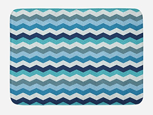 Ambesonne Aqua Bath Mat, Retro Vintage Chevron Geometrical Zig Zag Stripes, Plush Bathroom Decor Mat with Non Slip Backing, 29.5 W X 17.5 W Inches, Turquoise Pale Blue Navy Blue and Seafoam