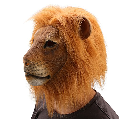 Ylovetoys Head Mask Lion Mask Novelty Halloween Christmas Easter Costume Party Masks Funny Latex Animal Head Mask (Lion)]()