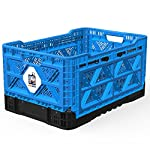BIGANT Heavy Duty Collapsible & Stackable Plastic Milk Crate - Snap Lock Foldable Industrial Garage Storage Bin Container Utility Tote Basket for Storing Tools, Toys, Groceries, Camping, Traveling